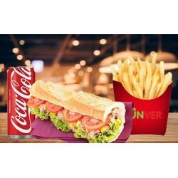 Menu Sandwich surimi, frites, sauces et boissons